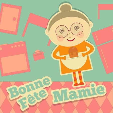 abuela: Abuela Día Francia. Tarjeta de felicitación con la abuela en la cocina en estilo de dibujos animados. Fête des Grands-Meres. Ilustración del vector.
