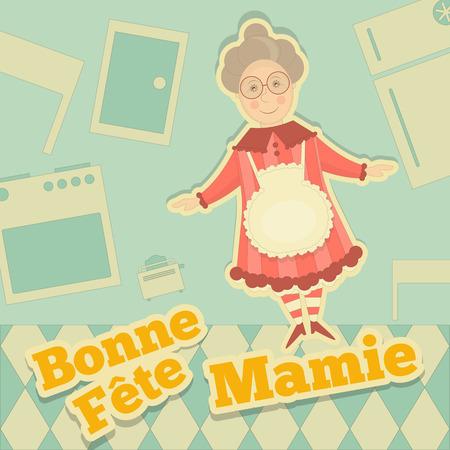 abuela: Abuela Día Francia. Tarjeta de felicitación con la abuela en diseño de la historieta. Fête des Grands-Meres. Ilustración del vector.
