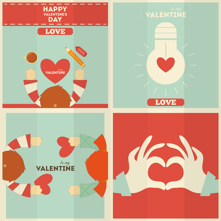 Valentines Day Cards Collection in Cartoon Style. Vector Illustration. Vector