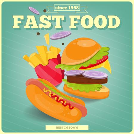 perro ba�era: Fast Food Cartel con la hamburguesa, perrito caliente, papas a la francesa. Ilustraci�n del vector. Vectores