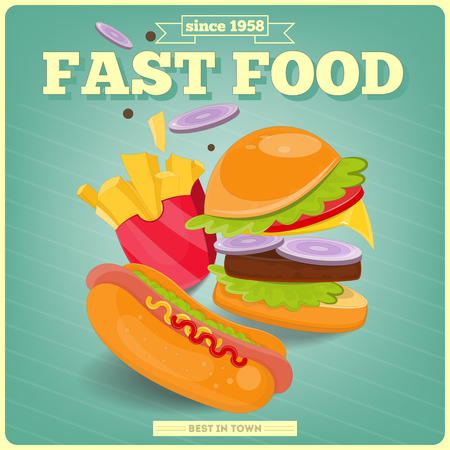 hot dog label: Fast Food Poster with Burger, Hot Dog, French Fries. Vector Illustration. Illustration