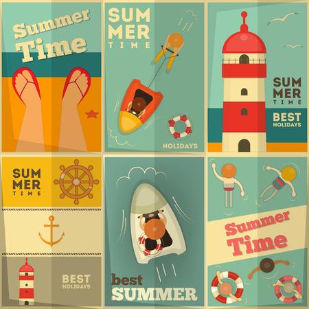 Sea Summer Holidays Posters Set. Vector Illustration. Vector