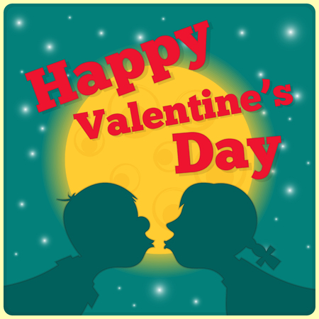 Valentines Day Card - Couple Kissing in Moonlight. Square format. Vector Illustration. Vector