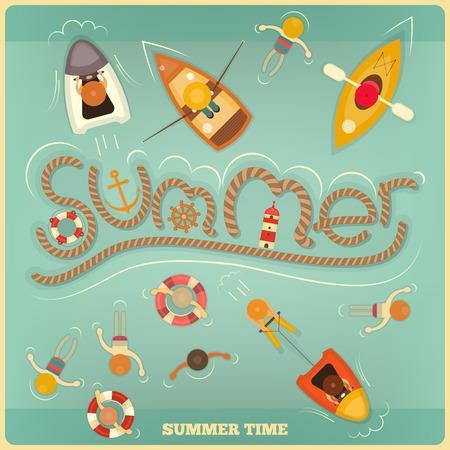 Sea Summer Card. Top View. Vector Illustration. Vector
