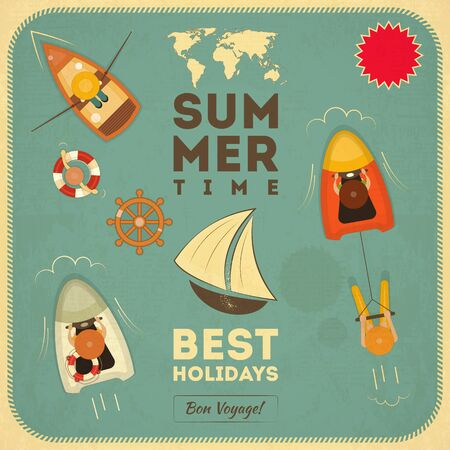 Sea Summer Retro Card. Top View. Vector Illustration. Vector