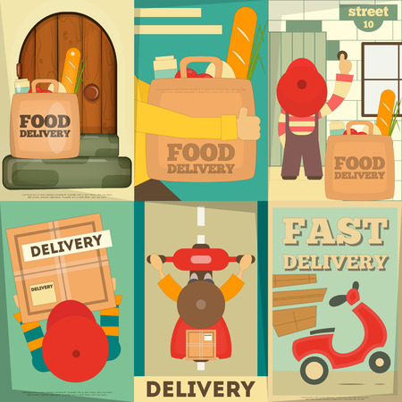 delivery man: Food Delivery. Posters Set. Flat Character Design. Vector Illustration.