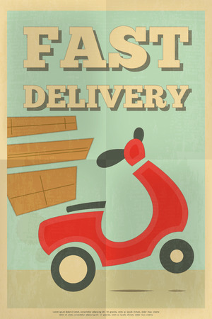 flat character: Food Delivery. Poster in Retro Style. Flat Character Design. Vector Illustration.