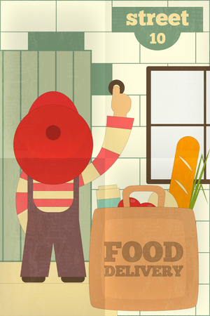 porch: Food Delivery. Courier Delivered Products. Poster in Retro Style. Flat Character Design. Vector Illustration.
