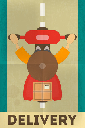 flat character: Food Delivery. Courier on Moped, Top View. Posters in Retro Style. Flat Character Design. Vector Illustration.