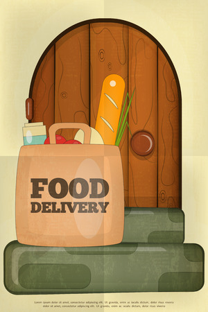 porch: Food Delivery. Package of Food on a House Porch. Poster in Retro Style. Vector Illustration.