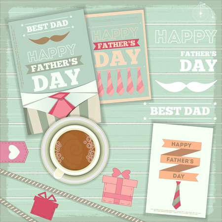 provence: Fathers Day Card in Rustic Provence Style. Vector Illustration.
