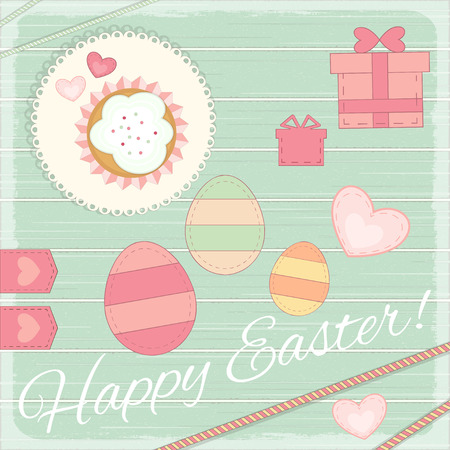 provence: Happy Easter Card in Rustic Provence Retro Style. Vector Illustration. Illustration
