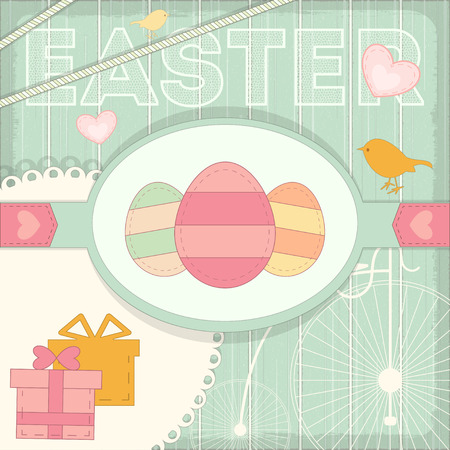 provence: Happy Easter Postcard in Rustic Provence Retro Style. Vector Illustration. Illustration