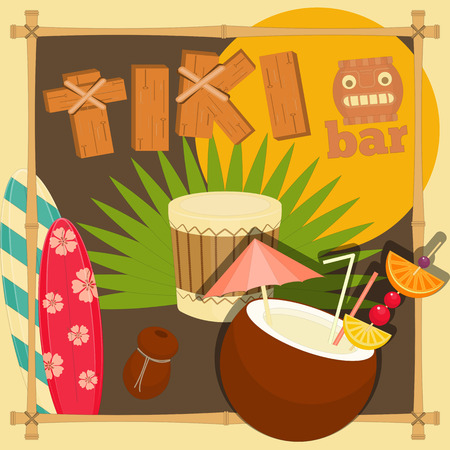 Tiki Bar. Summer Hawaii Card. Vector Illustration. Иллюстрация