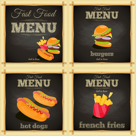 Fast Food Chalkboard Set. Menu Design. Vector Illustration. Vector