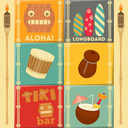 Summer Hawaii Cards Set. Vector Illustration. Vector