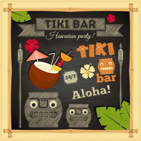 tiki party: Tiki Bar. Summer Hawaii Card on Chalkboard. Vector Illustration.