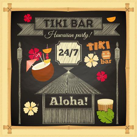 Tiki Bar. Summer Hawaii Card on Chalkboard with Bamboo Frame. Vector Illustration. 일러스트