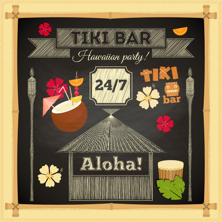 hut: Tiki Bar. Summer Hawaii Card on Chalkboard with Bamboo Frame. Vector Illustration. Illustration