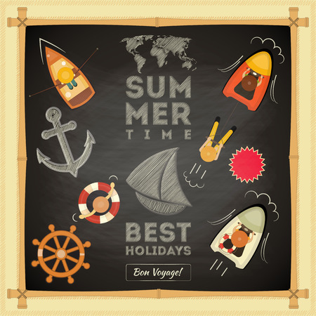 Summer Card on Chalkboard. Sea Theme. Vector Illustration. Vector