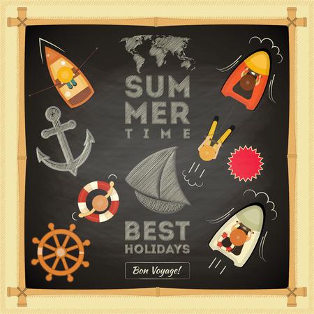 anchor man: Summer Card on Chalkboard. Sea Theme. Vector Illustration. Illustration