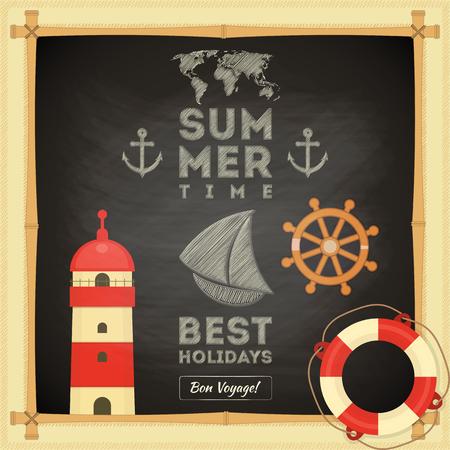 bamboo border: Summer Card on Chalkboard. Sea Retro Theme. Vector Illustration.