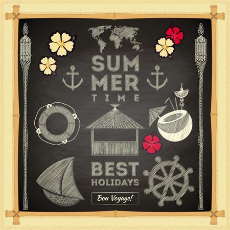anchor man: Summer Card on Chalkboard. Sea Hawaii Theme. Vector Illustration. Illustration