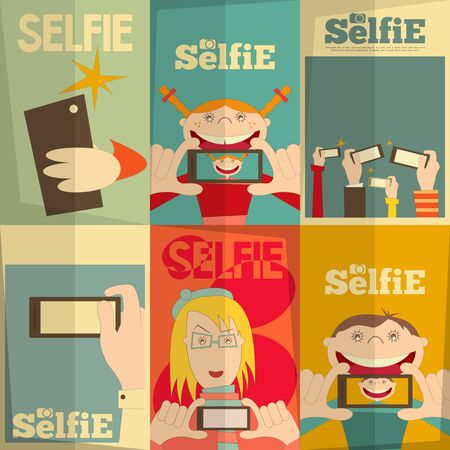 selfie: Selfie Posters Set. Flat Design. Vector Illustration.