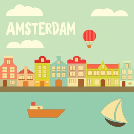 はしけ: アムステルダム。カラフルな家、運河ボートとオランダのカード。ベクトル イラスト。