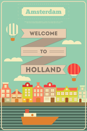 canal: Amsterdam. Holland Card with Colorful Houses and Canal in Flat Design. Vector Illustration. Illustration