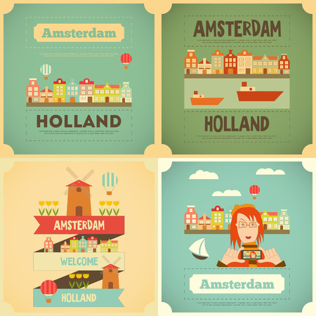 amsterdam canal: Amsterdam. Holland Card Collection in Flat Design. Vector Illustration.