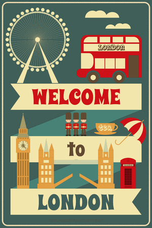 british army: London. English Card with British theme. Vector Illustration.