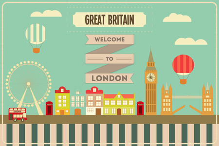 London. English Postcard with British theme. Vector Illustration.
