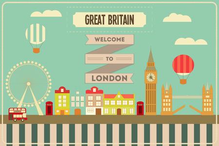 big eye cartoon: London. English Postcard with British theme. Vector Illustration.