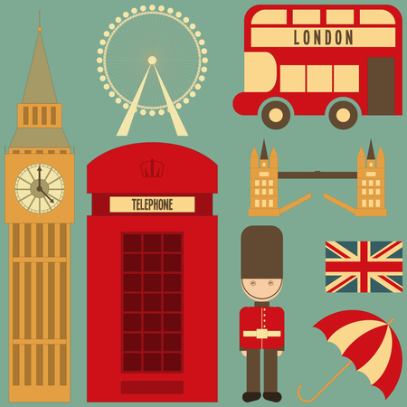 british army: London. English Icons Set with British theme. Vector Illustration. Illustration