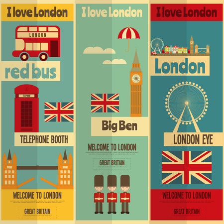 London. English Posters Collection with British theme in Flat Design. Vector Illustration.