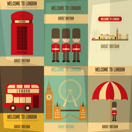 famous people: London. English Posters Collection with British theme. Vector Illustration.