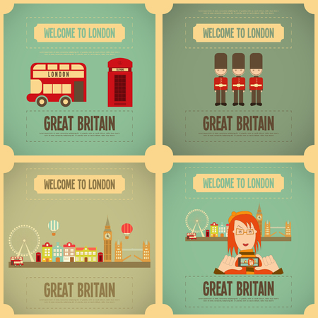 british people: London. English Poster Set with British theme. Vector Illustration.