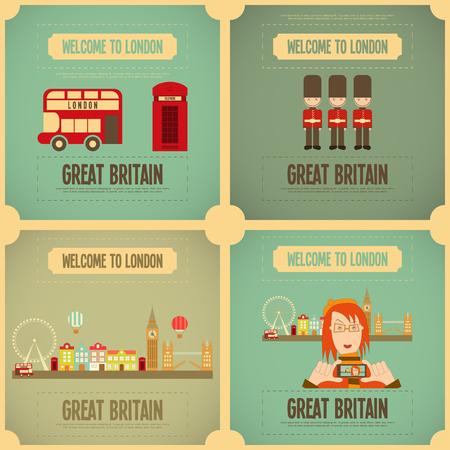London. English Poster Set with British theme. Vector Illustration.