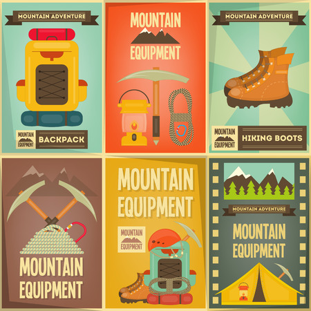 Bergbeklimmen Posters Collection. Camping en Wandelen Elements. Vector Illustratie.