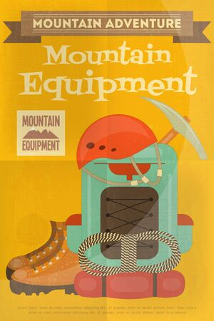 alpinism: Mountain Climbing Poster in Retro Style. Camping and Hiking Elements. Vector Illustration.