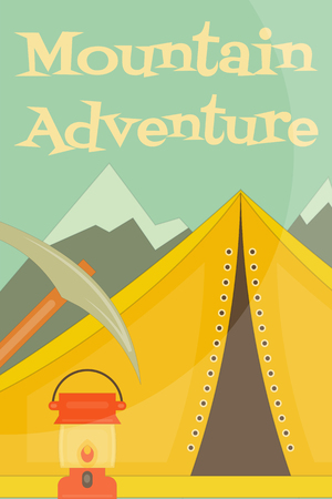 ice axe: Mountain Climbing Poster in Retro Style. Camping and Hiking Elements. Yellow Tent. Vector Illustration.