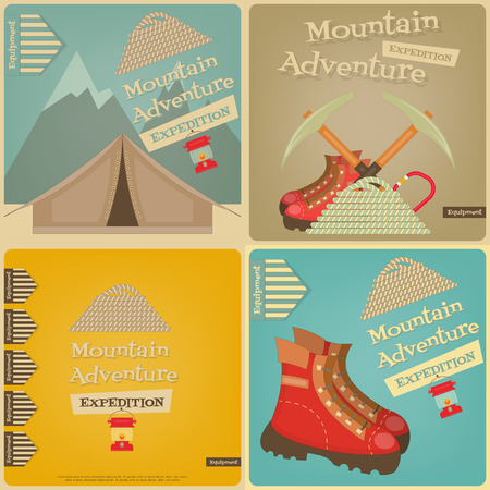 Mountain Climbing Cards Collection. Camping and Hiking Elements. Vector Illustration.
