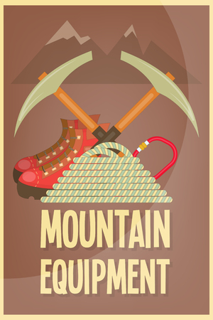 carbine: Mountain Climbing Placard in Retro Style. Camping and Hiking Elements. Vector Illustration.