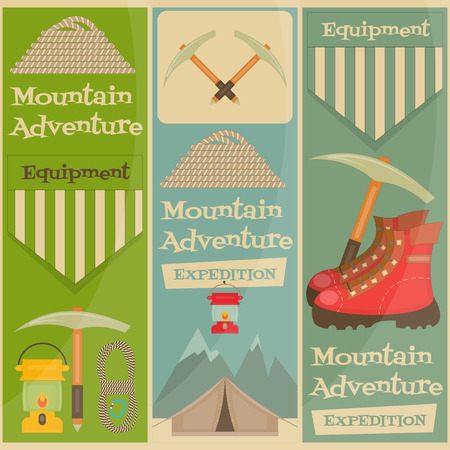ice ax: Mountain Climbing Placard Collection in Retro Design. Camping and Hiking Elements. Vector Illustration.