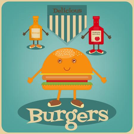 mustard: Burger Cartoon - Funny Gamburger, Ketchup and Mustard. Vector Illustration.