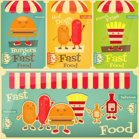 fanny: Fast Food Posters Set. Cartoon Fanny Fries, Hot Dog, Burger. Vector Illustration. Illustration