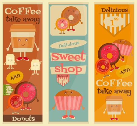 sweet shop: Cafe Sweet Shop Cartoon Posters Set - divertido del caf�, donas y torta. Ilustraci�n del vector. Vectores