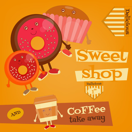 sweet shop: Sweet Shop - Funny Coffee, Donuts and Cake. Vector Illustration. Illustration