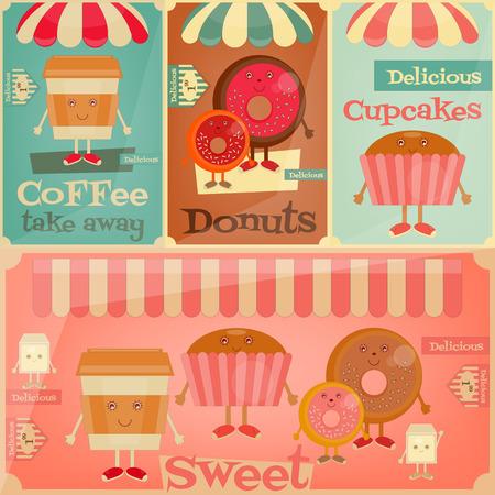 sweet shop: Cafe Sweet Shop. Historieta Menu Set - Funny Caf�, Donuts y torta. Ilustraci�n del vector.